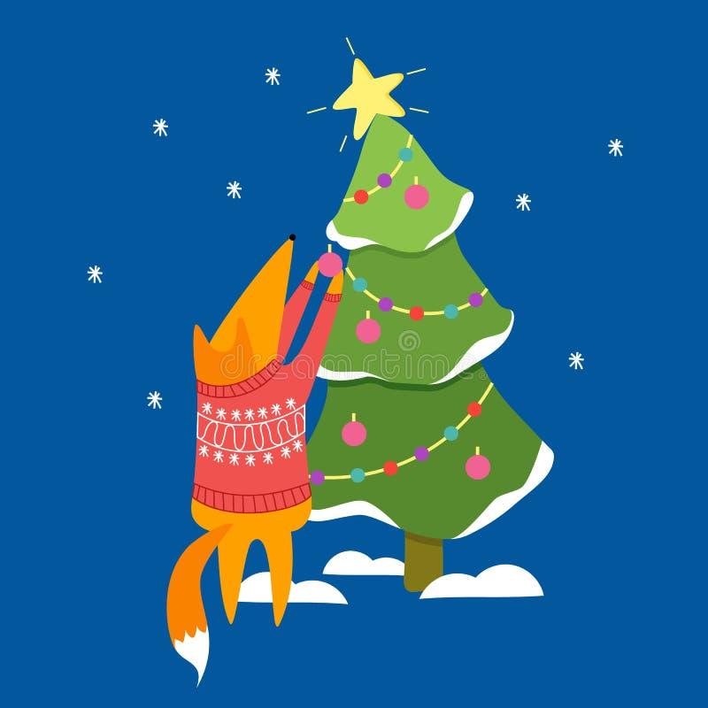 Fox和圣诞树 免版税库存图片