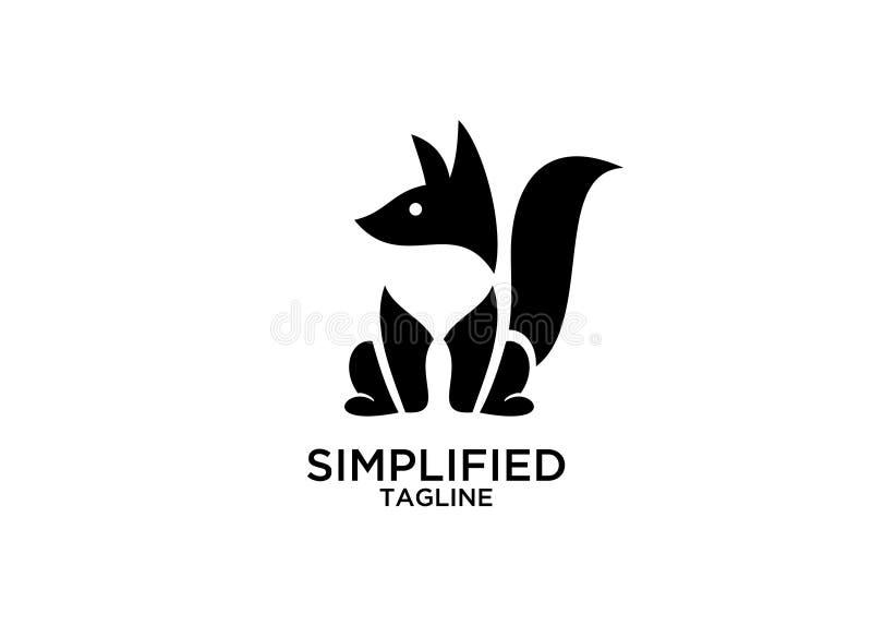 Fox坐下黑金子颜色概述线集合剪影商标象设计传染媒介 皇族释放例证