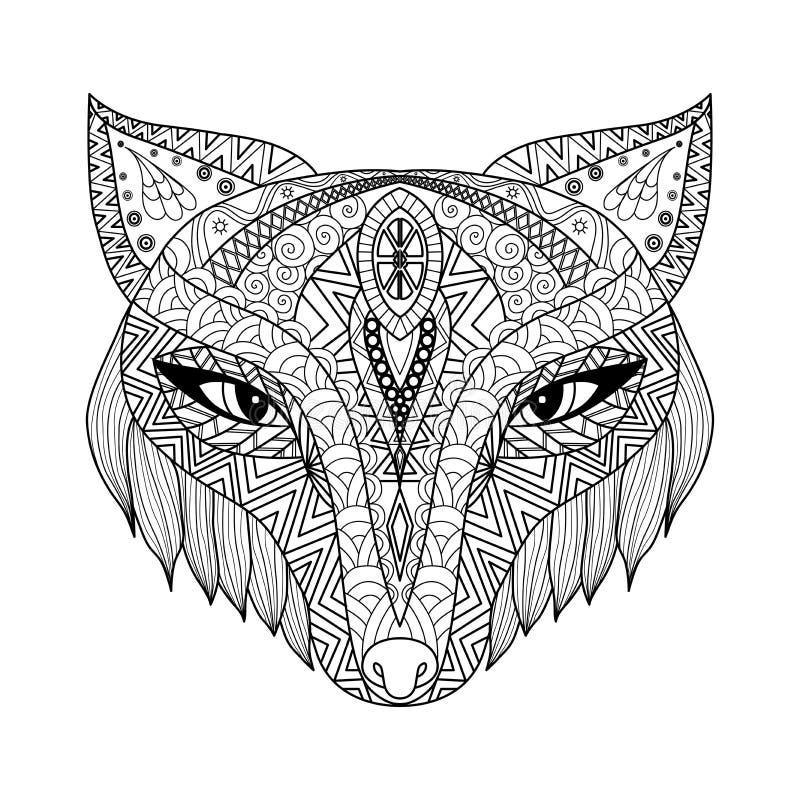 Fox彩图的zentangle样式成人的 免版税库存图片