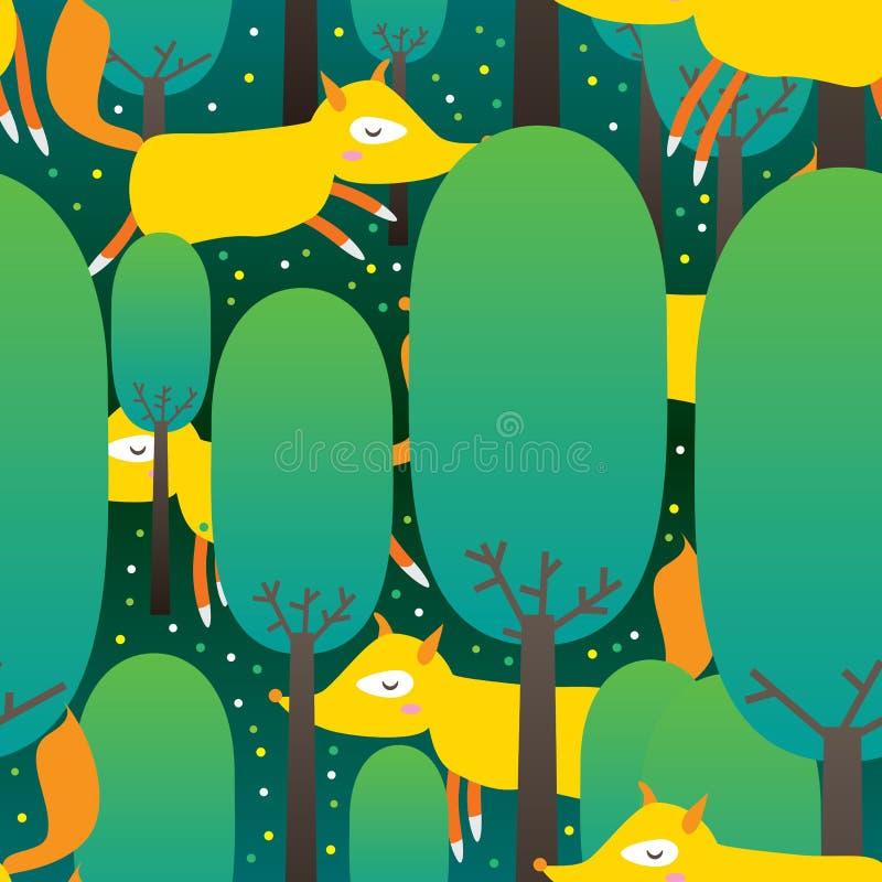Fox森林无缝的Pattern_eps 向量例证