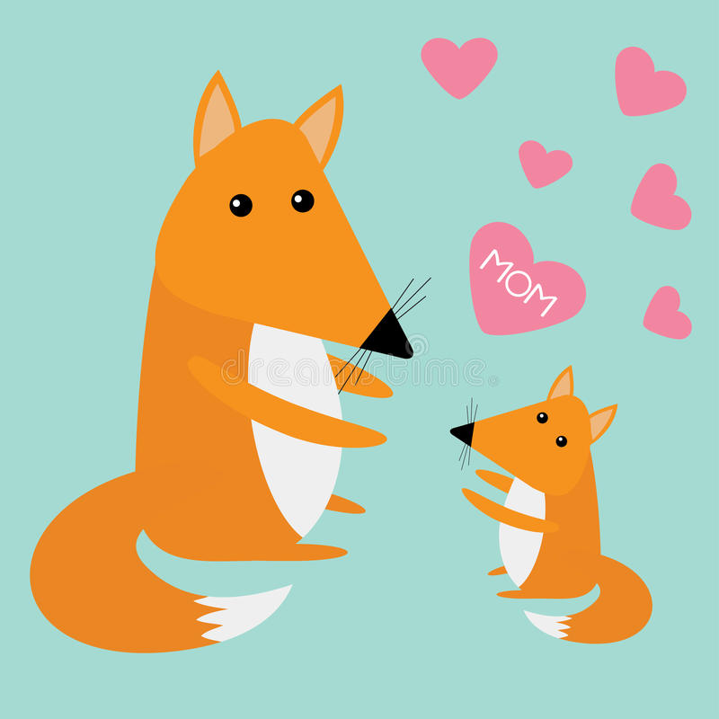 Fox母亲和婴孩 逗人喜爱的动画片字符集 桃红色心脏妈妈文本蓝色背景 森林动物汇集 贺卡Fla 向量例证