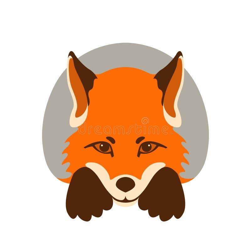 Fox面孔传染媒介例证平的样式前面 库存例证