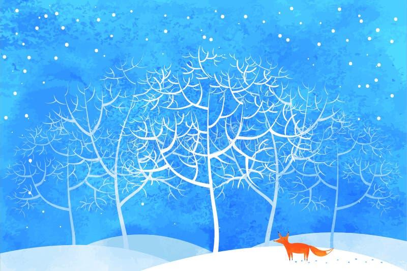 Fox в лесе зимы стоковые фотографии rf