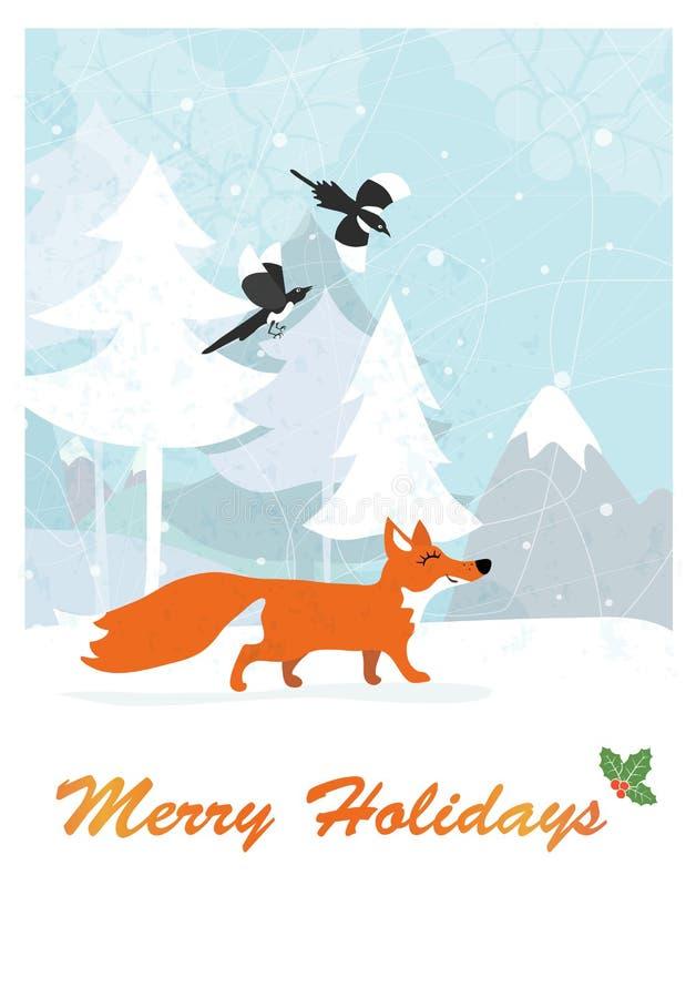 Fox в лесе зимы бесплатная иллюстрация