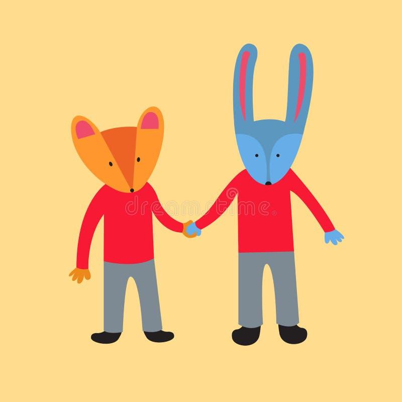 Fox и кролик бесплатная иллюстрация