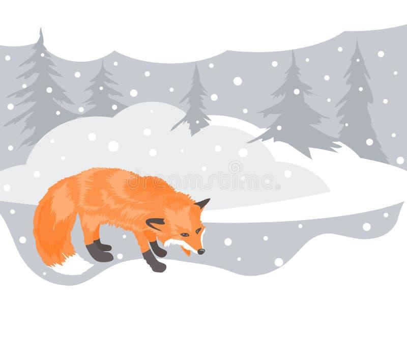 Fox и ландшафт зимы иллюстрация вектора