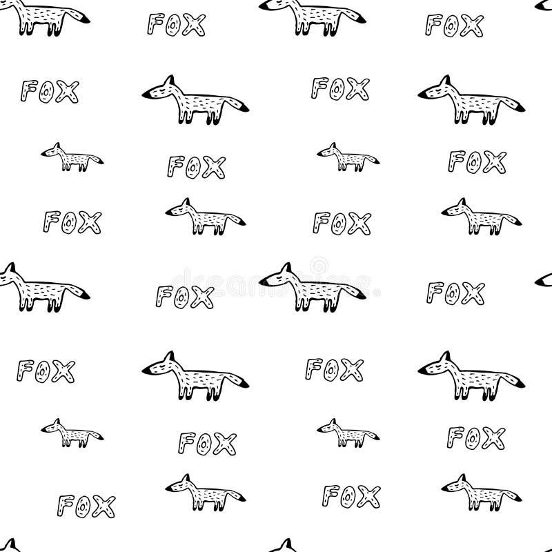 Fox рисует вручную безшовную картину стоковые фото