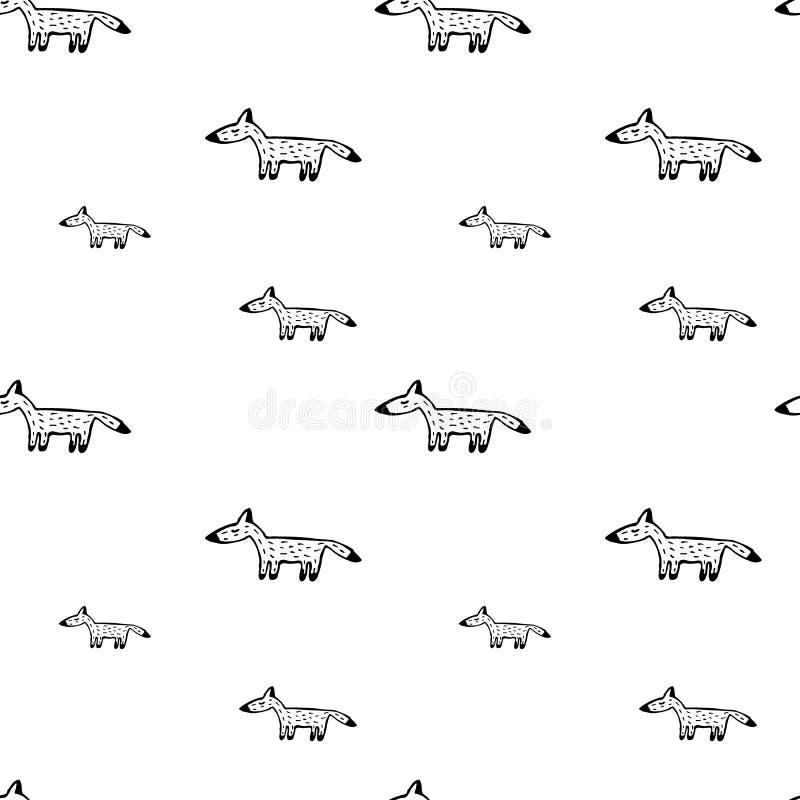 Fox рисует вручную безшовную картину стоковое изображение rf