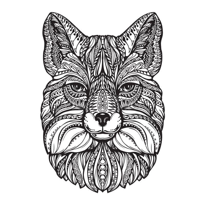 Fox头 手拉的剪影动物 种族被仿造的传染媒介例证 向量例证