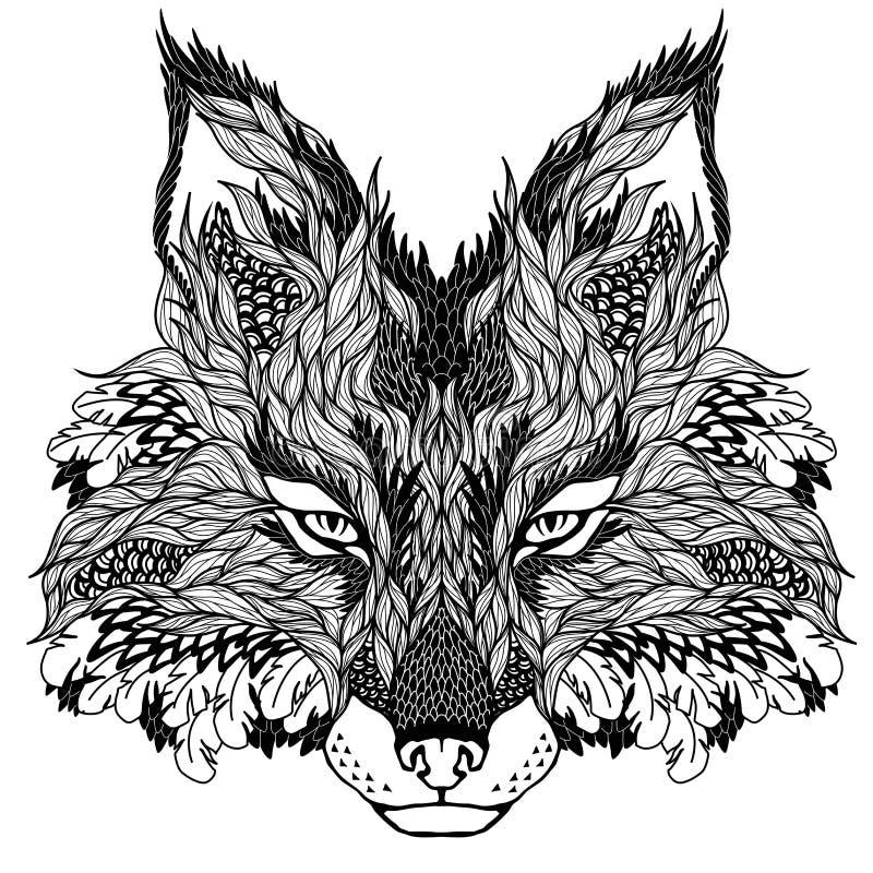 FOX头纹身花刺 荧光 皇族释放例证