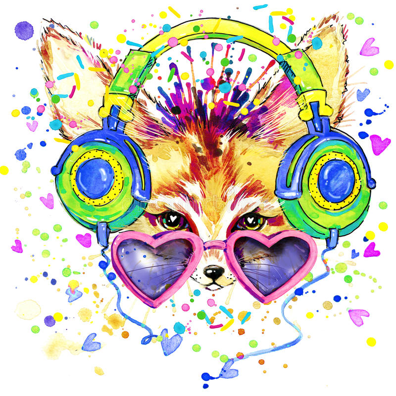 Free Fox And Earphone T-shirt Graphics. Fox Illustration With Splash Watercolor Textured Background. Unusual Illustration Watercolor Stock Photos - 56798973