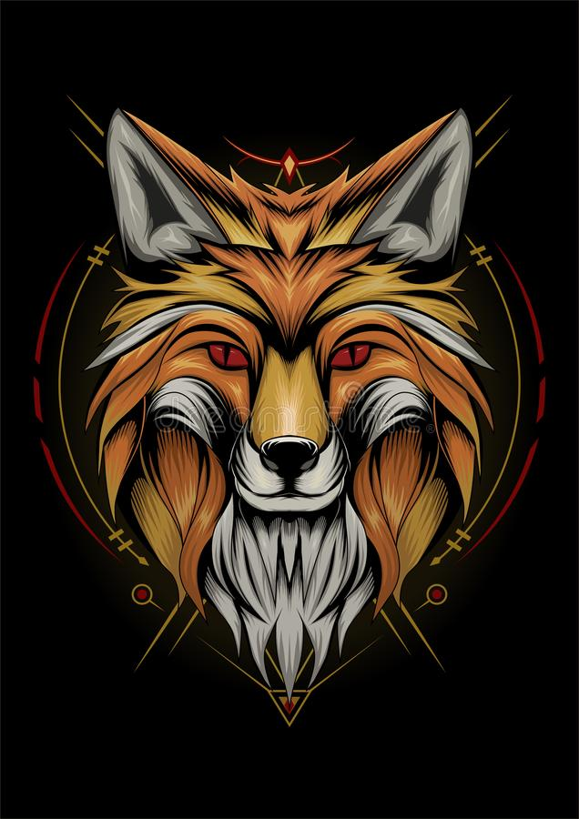 Fox animal face. vector fox cool expression. Fox animal face illustration. fox head vector animal with ornament on the black background. cool expression royalty free illustration