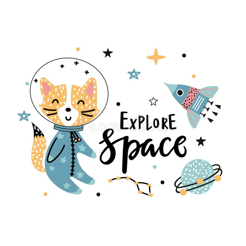 Fox astronaut rocket and text. Explore space - handwritten phrase with funny fox astronaut, rocket and stars on a white background. Vector illustration for kids royalty free illustration