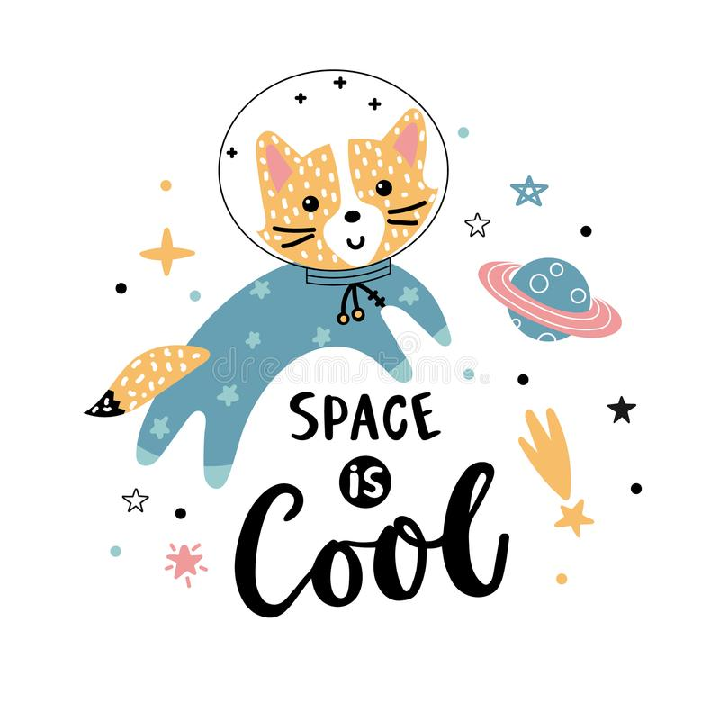 Fox astronaut and text about space. Space is cool - hand written phrase with funny fox astronaut, planets and stars on a white background. Vector illustration vector illustration