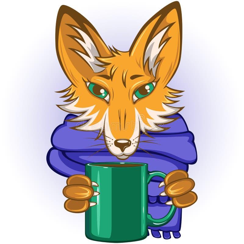 Fox avec la tasse dans des pattes illustration de vecteur