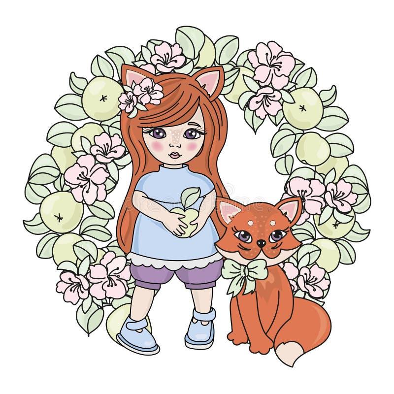 FOX BABIES Spring Girl Animal Wreath Vector Illustration Set. FOX BABIES Spring Girl Season Animal Holiday Cartoon Wreath Vector Illustration Set for Print stock illustration
