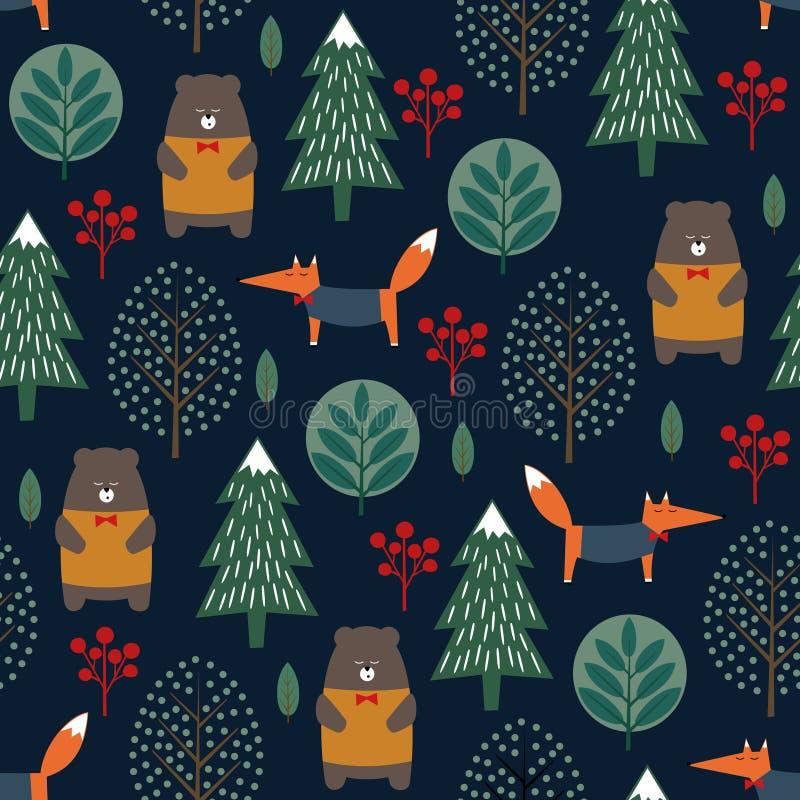 Fox, bear, trees seamless pattern on dark blue background. royalty free illustration