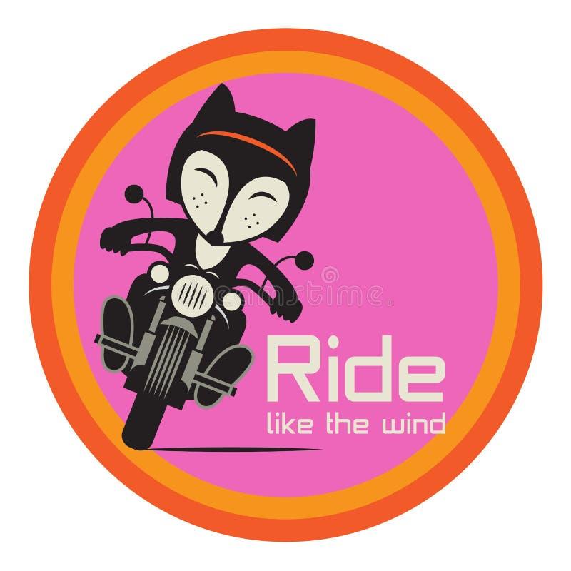 Fox Biker in motocicletta, scorre come il vento illustrazione vettoriale