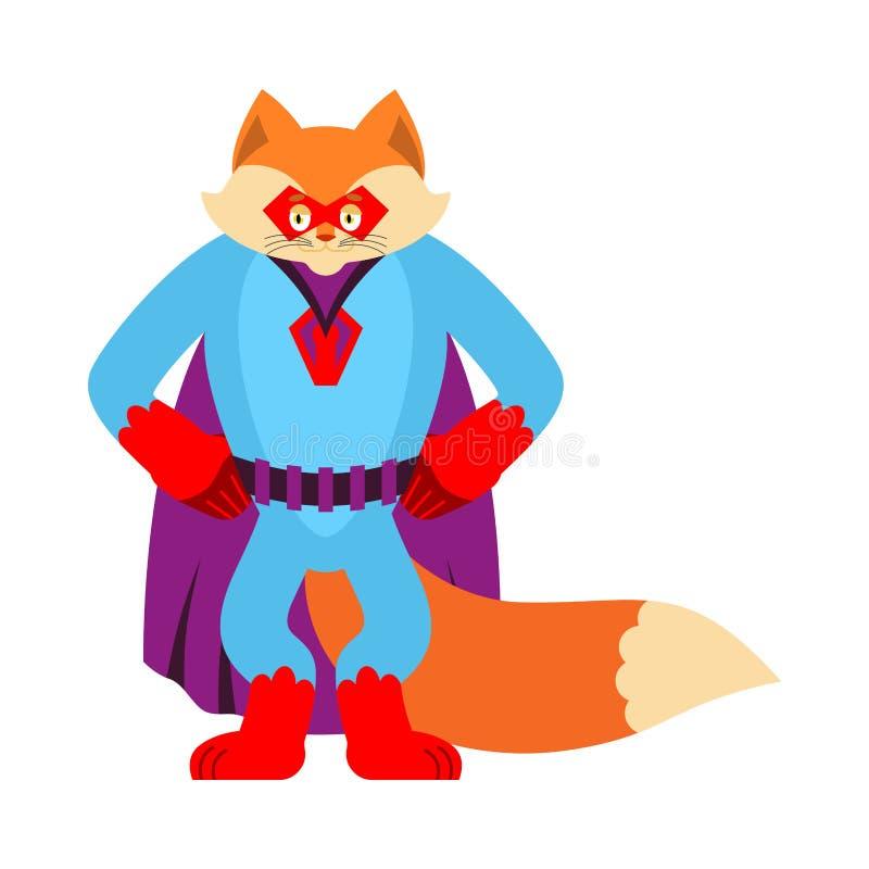 Fox bohater Super Dzika bestia w masce i deszczowu Silny Fox royalty ilustracja