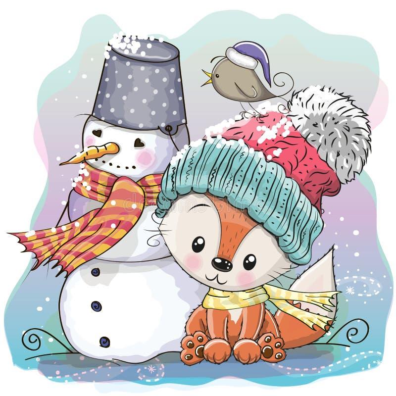 Fox bonito e boneco de neve ilustração royalty free