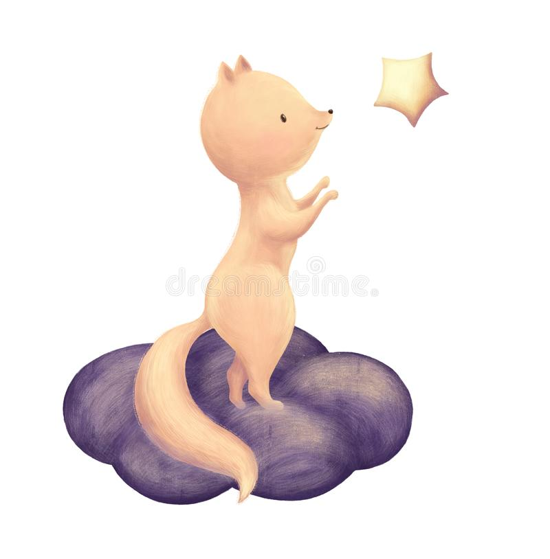Fox catch the star. Cute children print. Night sky and cloud card. Illustration for kids birthday party, baby shower or childish design royalty free illustration
