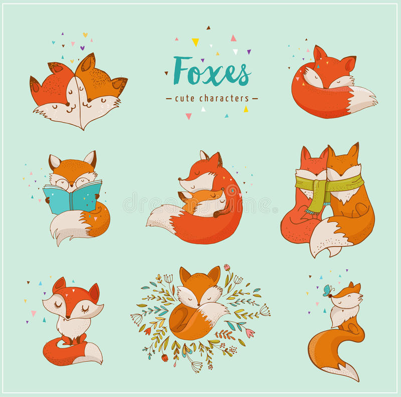Fox characters, cute, lovely illustrations royalty free illustration
