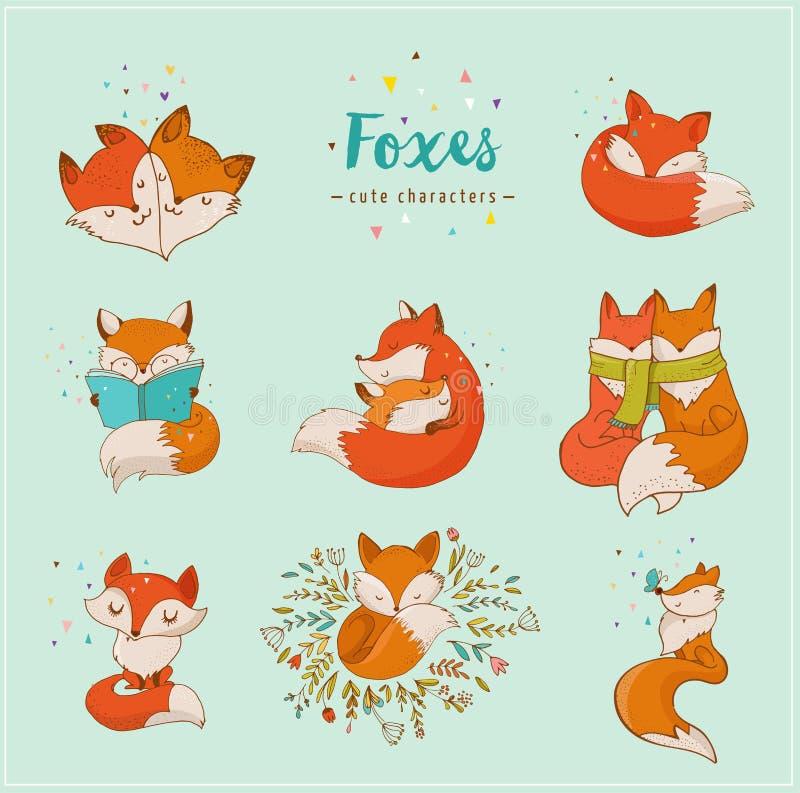 Fox charaktery, śliczne, urocze ilustracje, royalty ilustracja