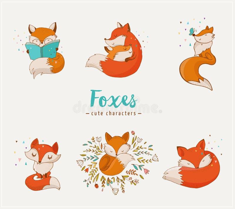 Fox charaktery, śliczne, urocze ilustracje, ilustracja wektor