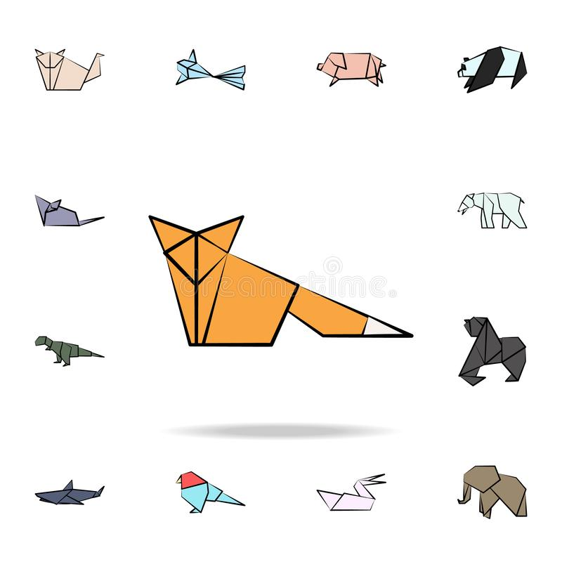 A fox colored origami icon. Detailed set of origami animal in hand drawn style icons. Premium graphic design. One of the. Collection icons for websites, web royalty free illustration