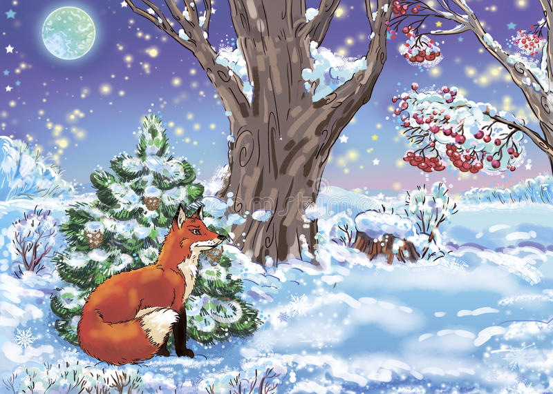Fox. Colorful illustration of a wild fox in the winter forest royalty free illustration