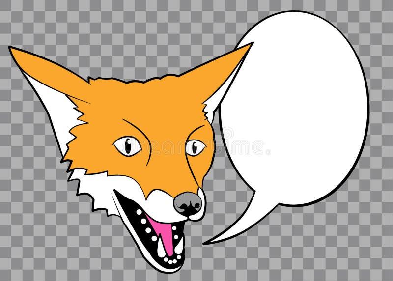 Fox colorido com bolha do discurso ilustração do vetor