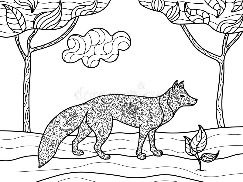 download fox coloring book for adults vector stock vector image 70676267 - Fox Coloring Book