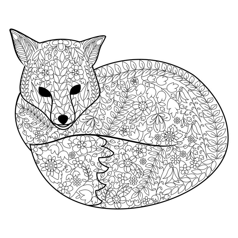 download fox coloring book for adults vector stock vector image 73057314 - Fox Coloring Book