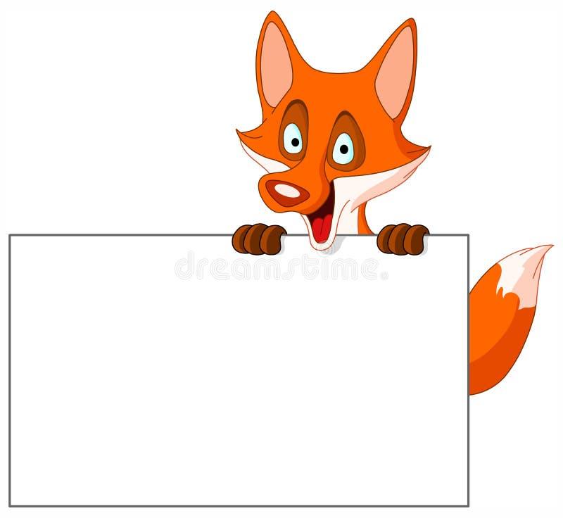 Fox com sinal ilustração stock