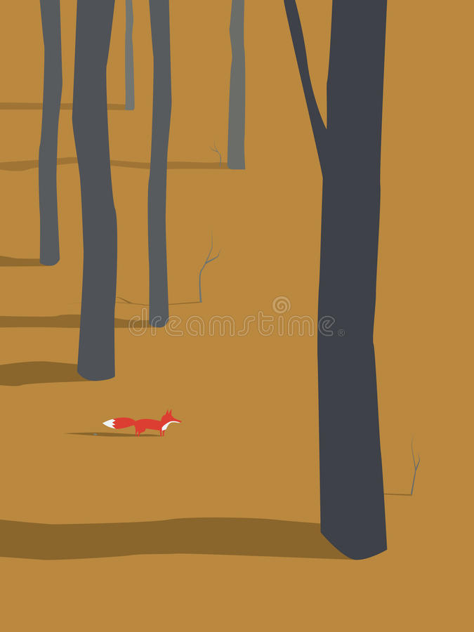 Fox coming out of autumn or fall forest vector illustration. Seasonal autumn landscape design. royalty free illustration