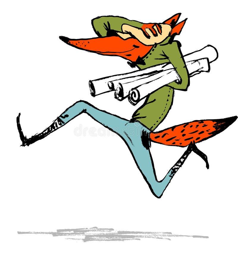Fox con una serie, él es arquitecto Imagen cómica, impresión en una camiseta o diseño de materiales impresos ilustración del vector