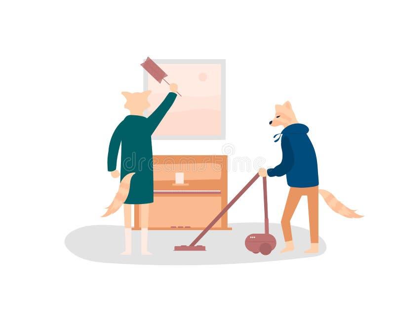 Fox couple doing household chores vector illustration vector illustration