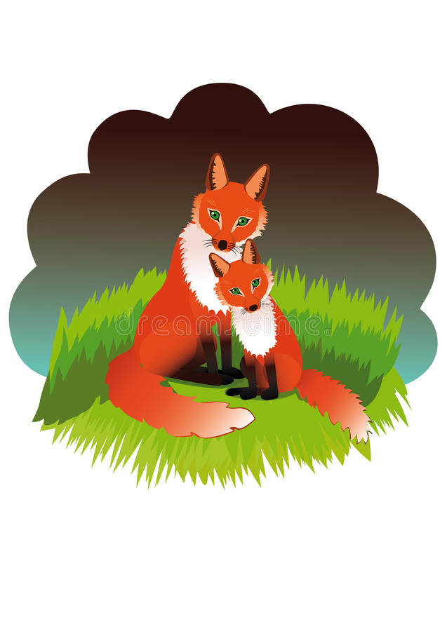 The fox with cub. Fox with her cub sits on a green lawn stock illustration