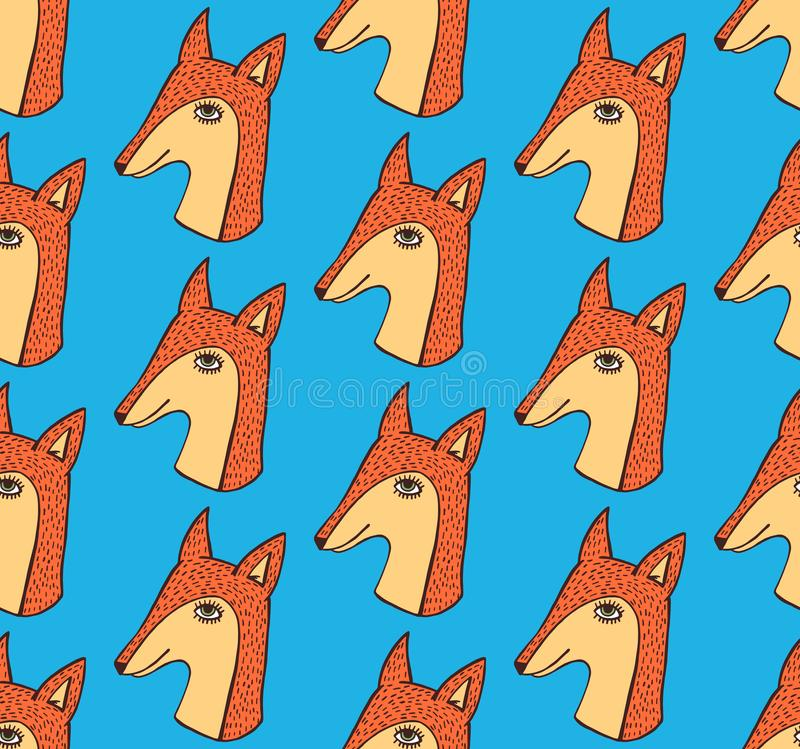 Fox cute hand drawn seamless vector pattern vector illustration