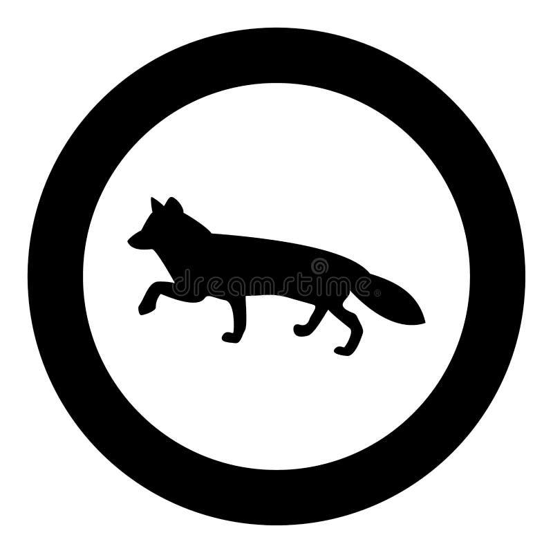 Fox de couleur de noir d'icône de silhouettes en cercle illustration libre de droits