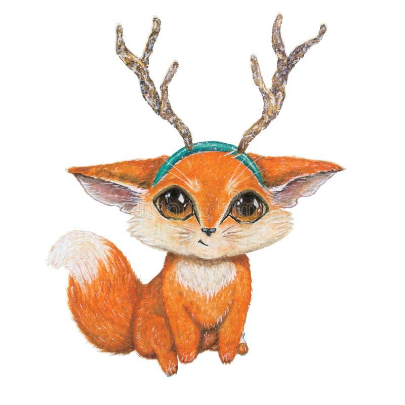 Fox de sorriso do bebê com a faixa dos chifres da rena foto de stock royalty free