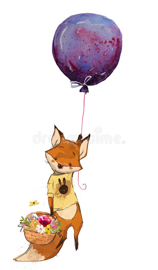 Fox de vol mignon de bande dessinée illustration stock