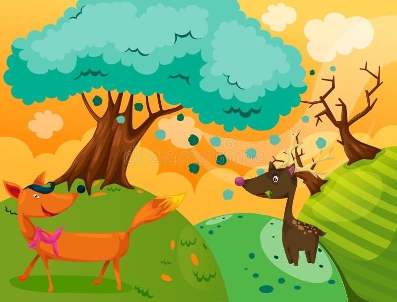 Fox and deer stock illustration