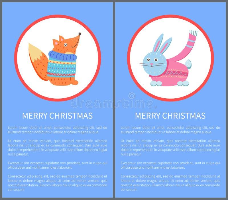 Fox del animal de la Feliz Navidad en suéter y conejo stock de ilustración