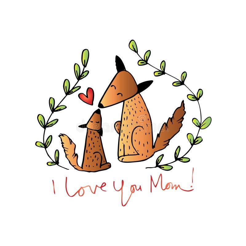 Fox della madre e Fox del bambino royalty illustrazione gratis