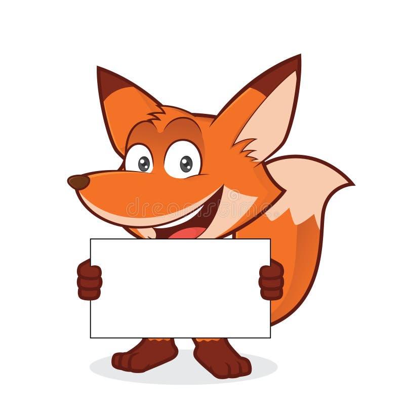 Fox, der ein leeres Zeichen hält lizenzfreie abbildung