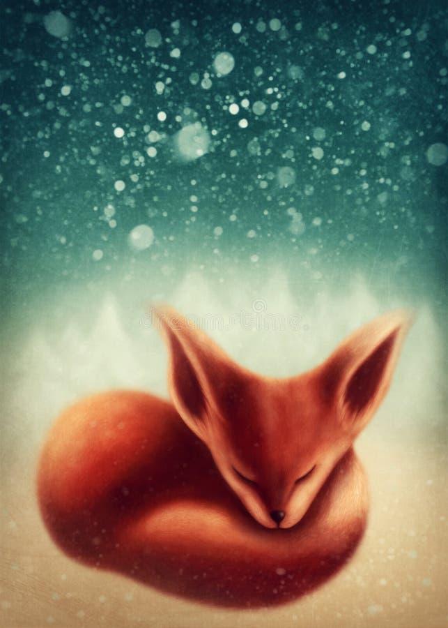 Fox, der im Winterwald schläft vektor abbildung