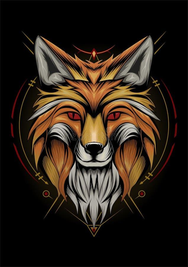 Fox djuransikte kyligt uttryck för vektorfox arkivfoto