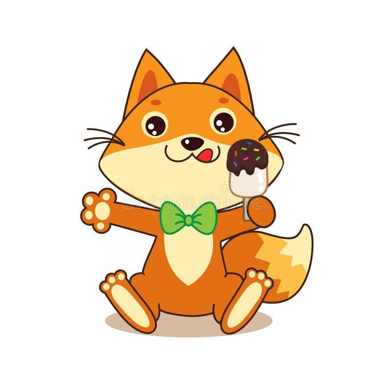 Fox drôle mignon avec la crème glacée  Vecteur de bande dessinée Fox drôle Memes illustration libre de droits