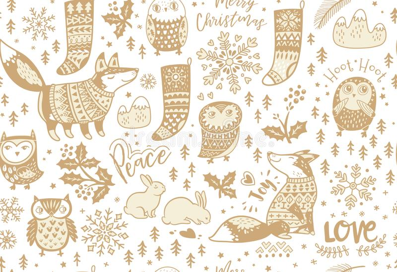 Fox e corujas, floco de neve e coelho, visco e peúgas ilustração stock